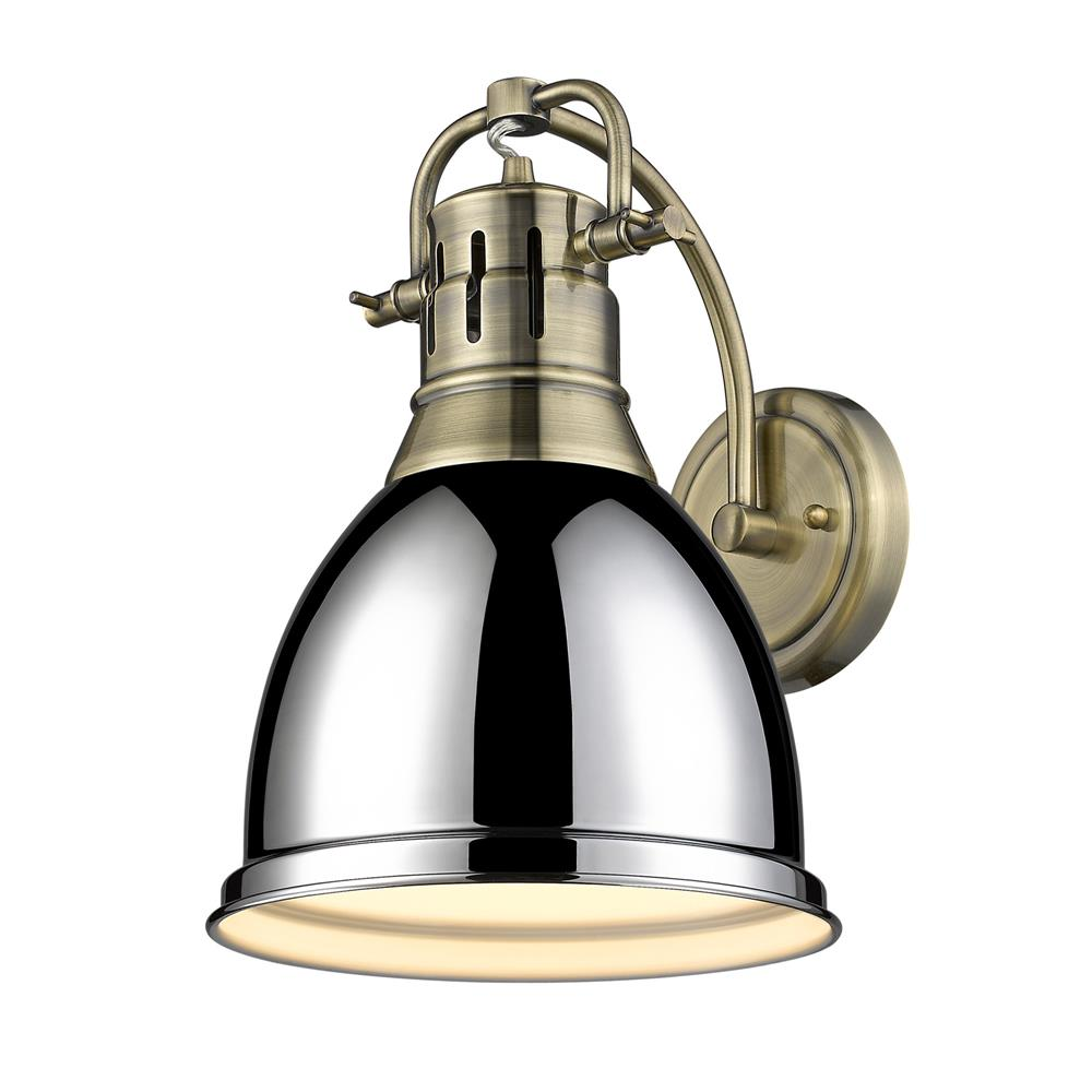 Golden Lighting 3602-1W AB-CH Duncan 1 Light Wall Sconce in Aged Brass