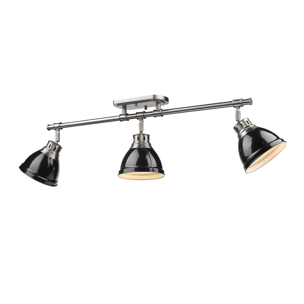 Golden Lighting 3602-3SF PW-BK Duncan PW Semi-Flush - Track Light