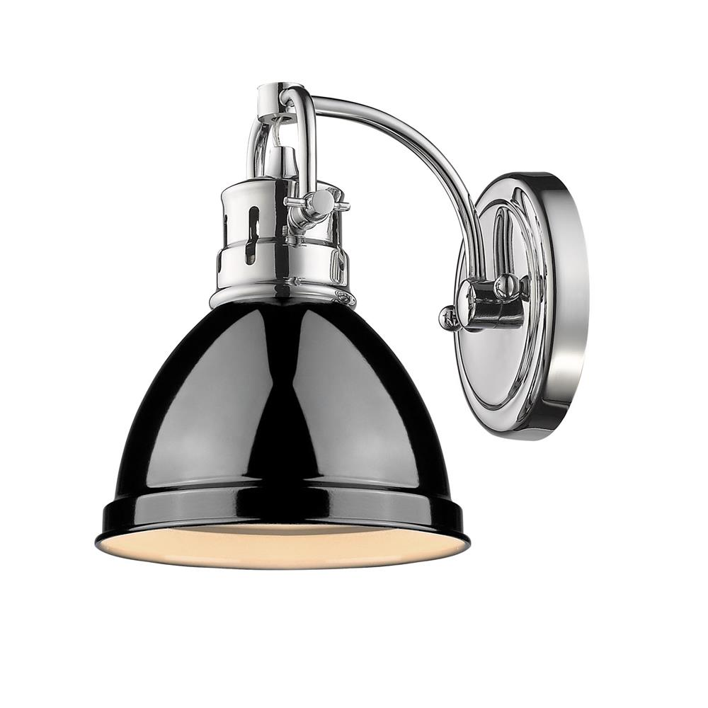Golden Lighting 3602-BA1 CH-BK Duncan CH 1 Light Bath Vanity in the Chrome finish with Black