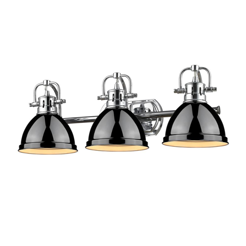 Golden Lighting 3602-BA3 CH-BK Duncan CH 3 Light Bath Vanity in the Chrome finish with Black