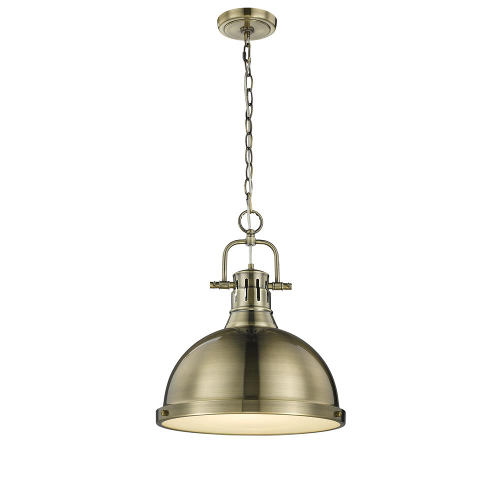 Golden Lighting 3602-L AB-AB Duncan Pendant in the Aged Brass Finish