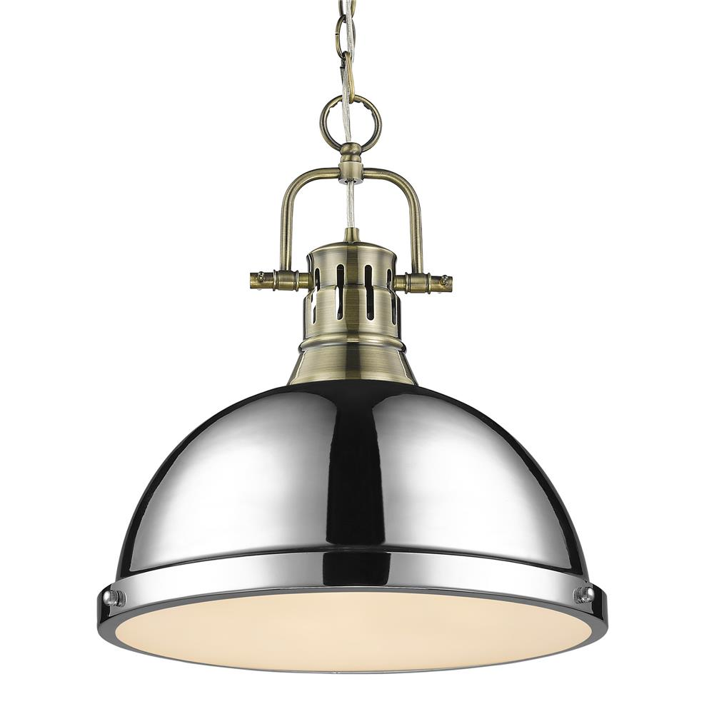 Golden Lighting 3602-L AB-CH Duncan 1 Light Pendant with Chain in Aged Brass