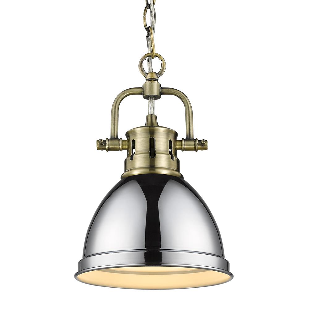 Golden Lighting 3602-M1L AB-CH Duncan Mini Pendant with Chain in Aged Brass