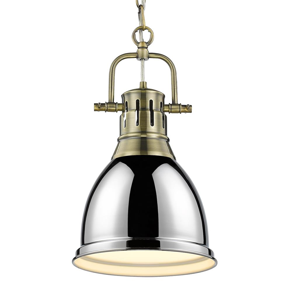 Golden Lighting 3602-S AB-CH Duncan Small Pendant with Chain in Aged Brass