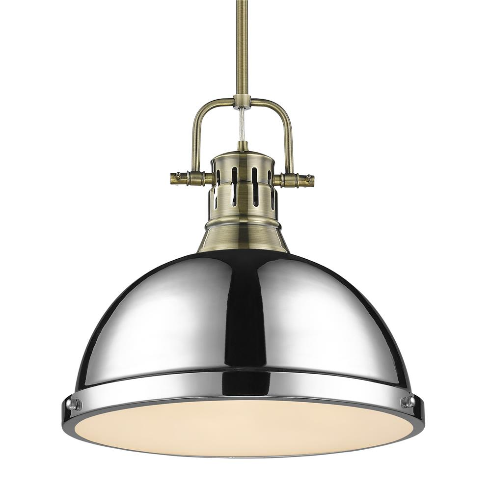 Golden Lighting 3604-L AB-CH Duncan 1 Light Pendant with Rod in Aged Brass