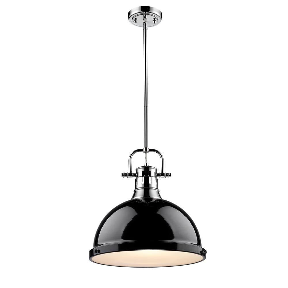 Golden Lighting 3604-L CH-BK Duncan CH 1 Light Pendant with Rod in the Chrome finish with Black