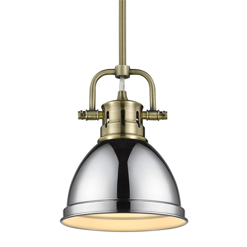 Golden Lighting 3604-M1L AB-CH Duncan Mini Pendant with Rod in Aged Brass