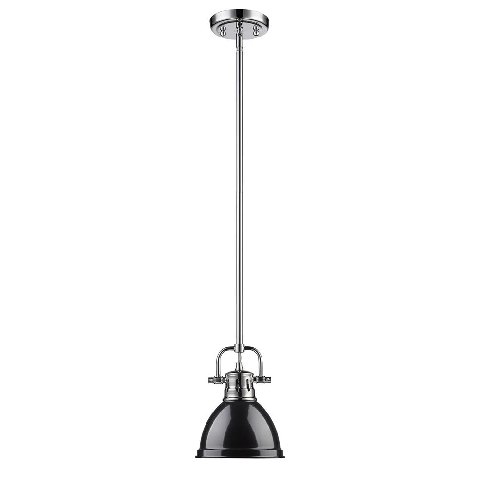 Golden Lighting 3604-M1L CH-BK Duncan Mini Pendant with Rod in Chrome with Black Shade
