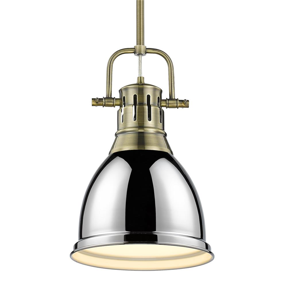 Golden Lighting 3604-S AB-CH Duncan Small Pendant with Rod in Aged Brass