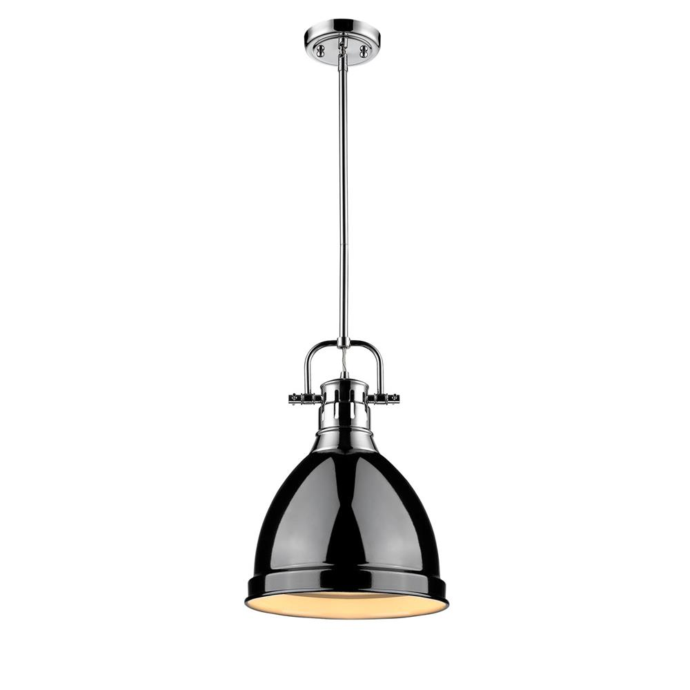 Golden Lighting 3604-S CH-BK Duncan CH Mini Pendant with Rod in the Chrome finish with Black