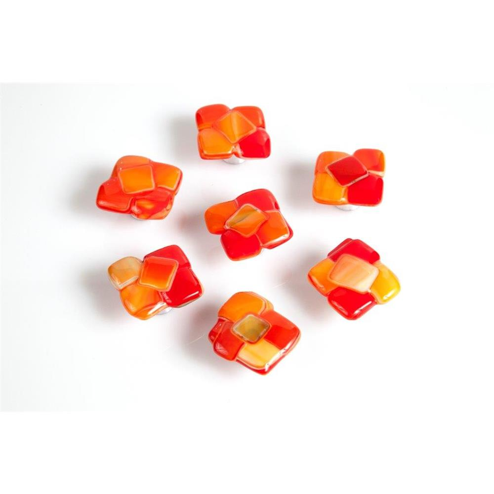 Grace White Glass CS Citrus Squares Knob