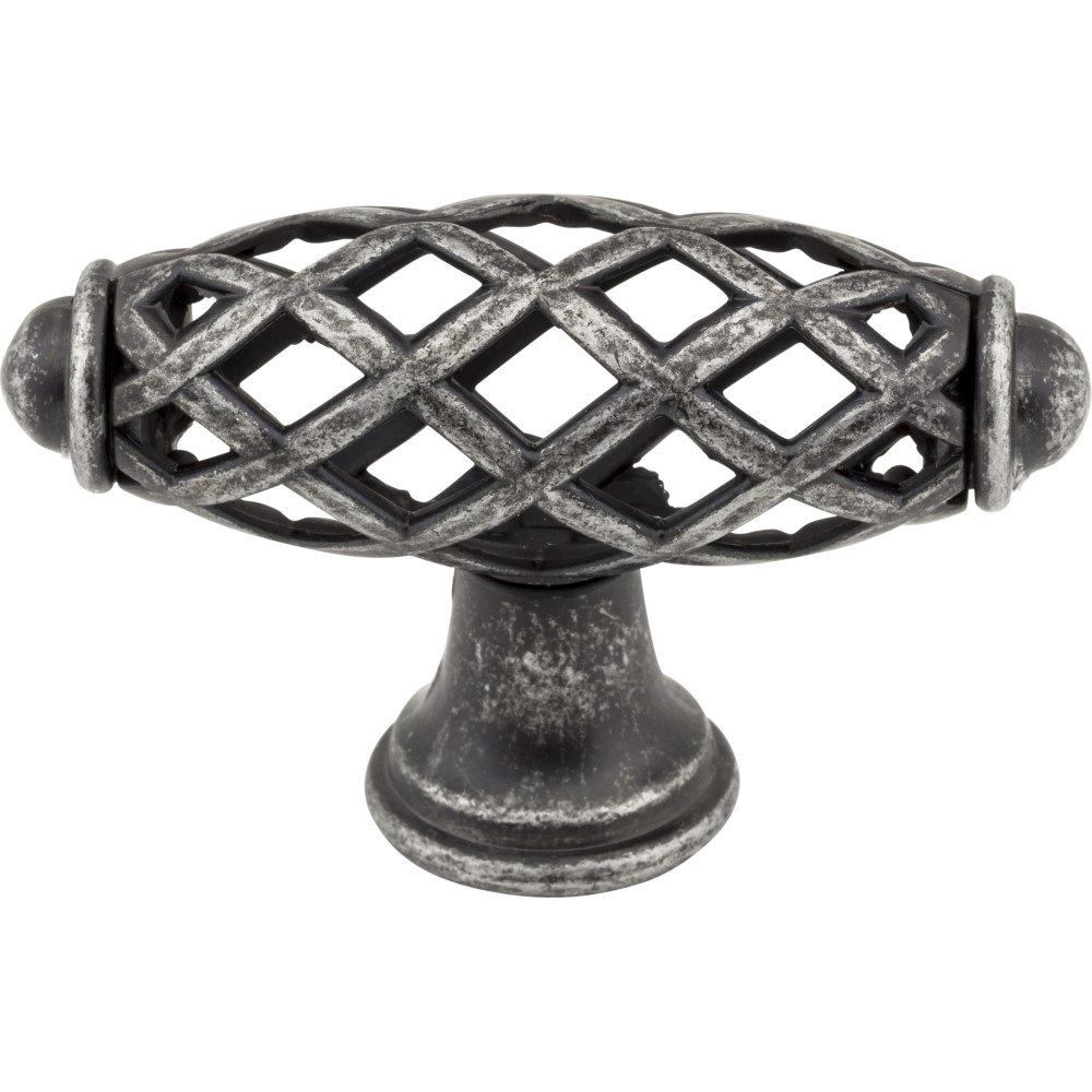 "Jeffrey Alexander by Hardware Resources 749SIM 2-5/16""  OL Bird Cage Knob Finish: Swedish Iron Machined. Pa"