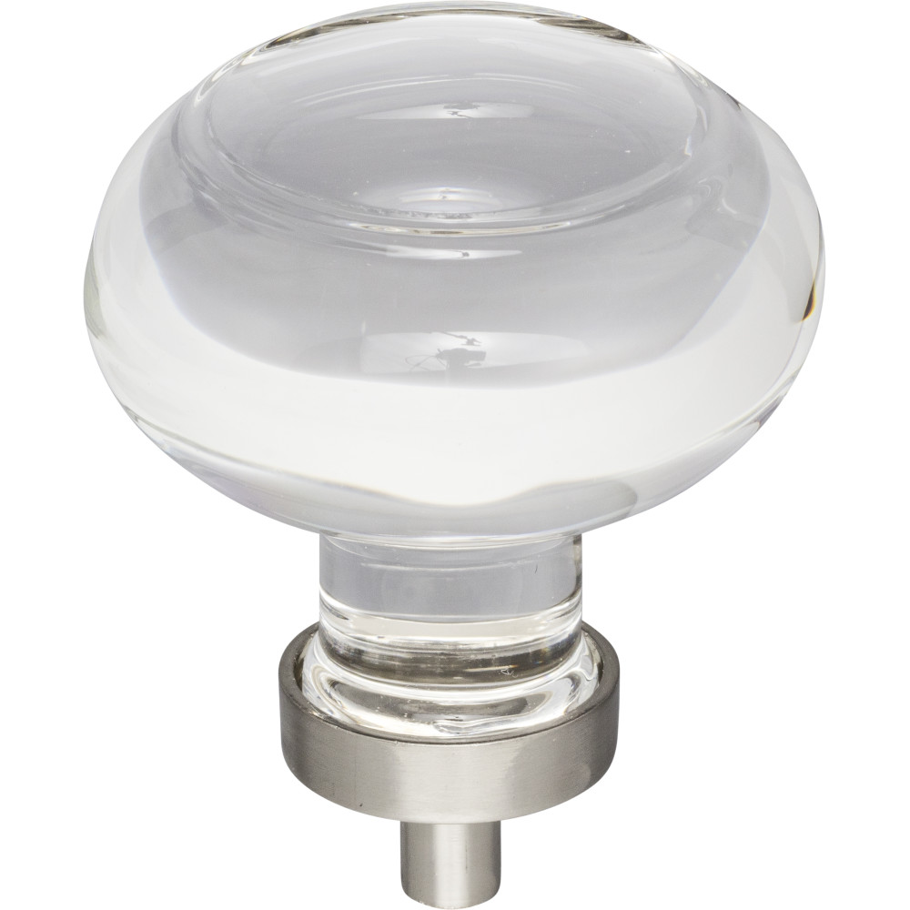 "Hardware Resources G120L-SN Harlow 1-3/4"" Dia Glass Button Cabinet Knob Finish: Satin Nickel"