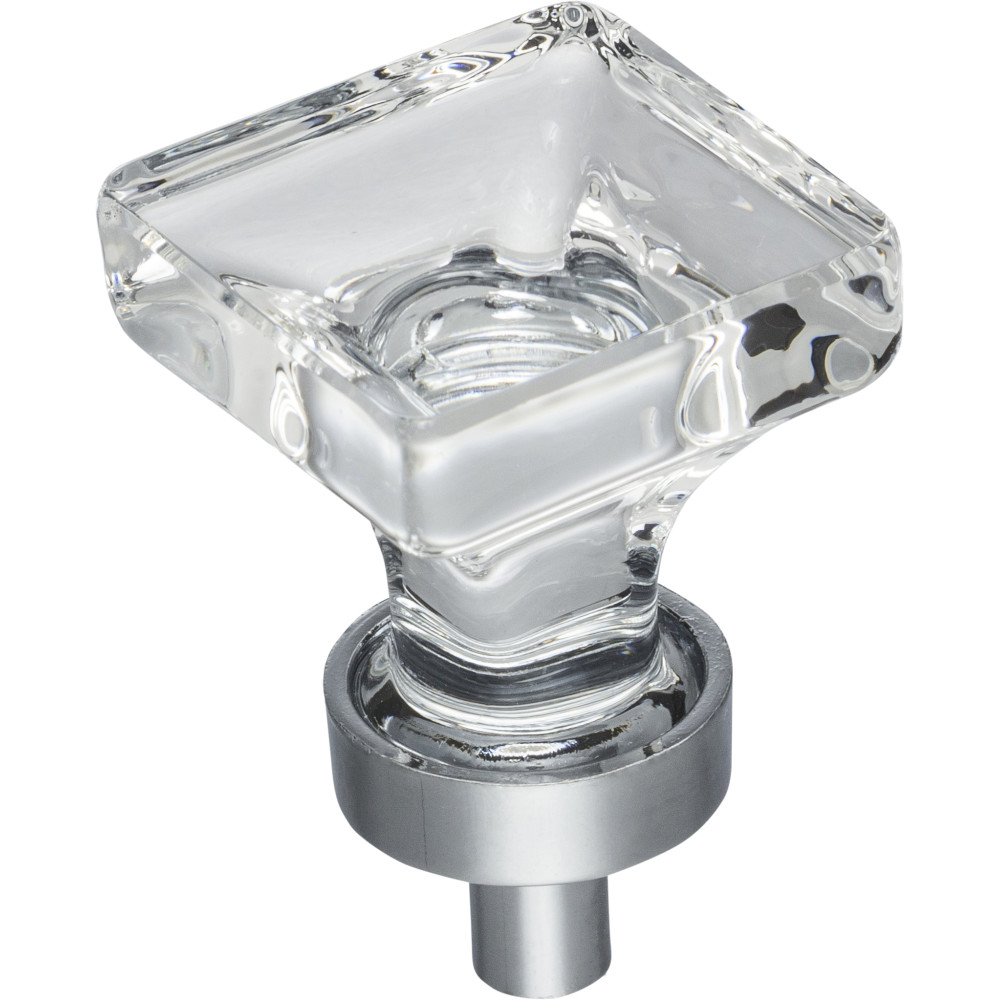 "Hardware Resources G140PC Harlow 1"" OL Glass Square Cabinet Knob Finish: Polished Chrome"