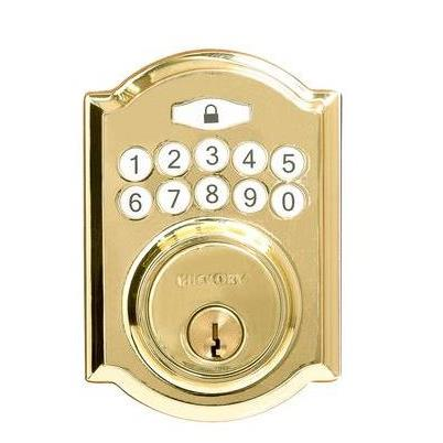 Hickory Hardware H076388-PB Securemote Bluetooth Enabled Deadbolt, Traditional, Polished Brass