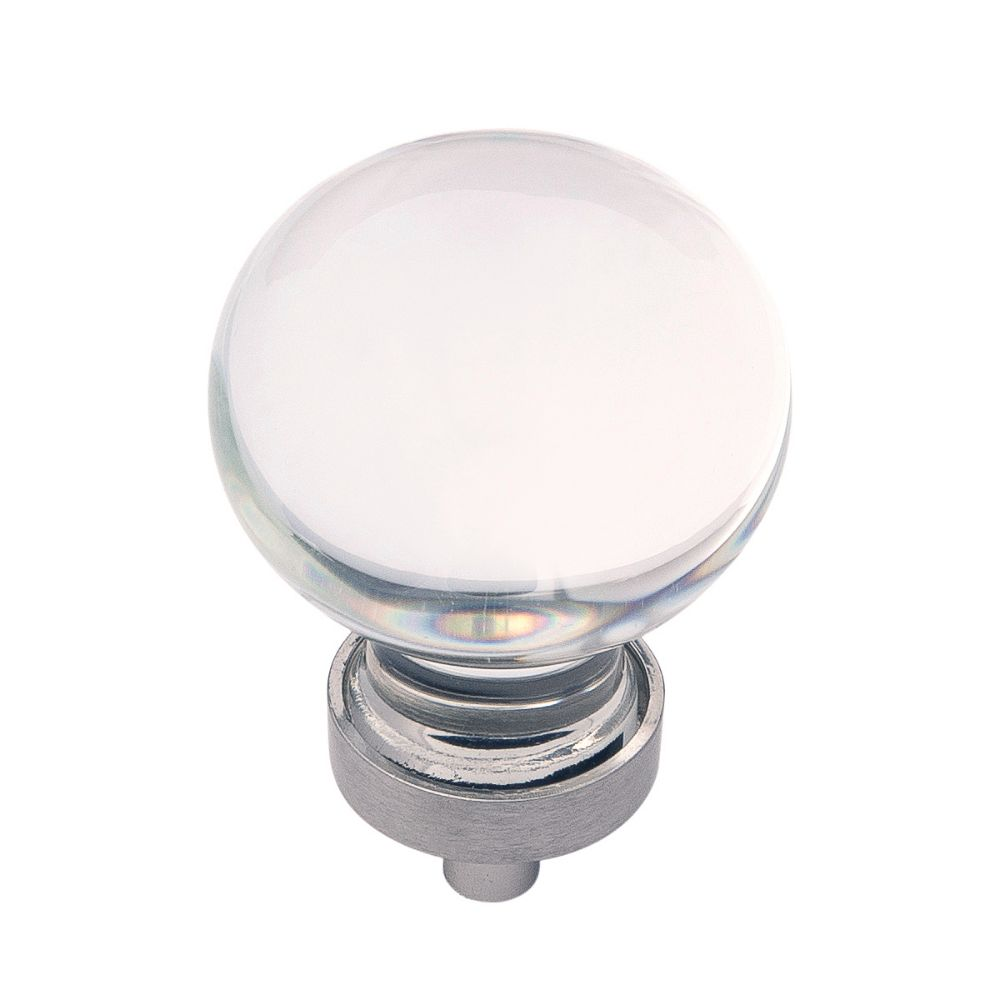 Hickory Hardware HH075853-GLSN Gemstone Collection Knob 1-3/8 Inch Diameter Glass with Satin Nickel Finish