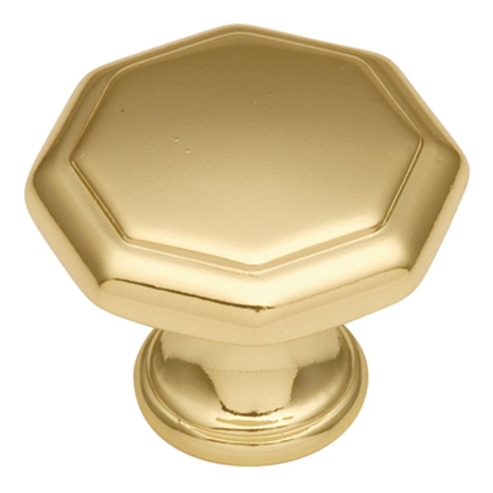 Hickory Hardware P14004-3 Conquest Collection Knob 1-1/8 Inch Diameter Polished Brass Finish