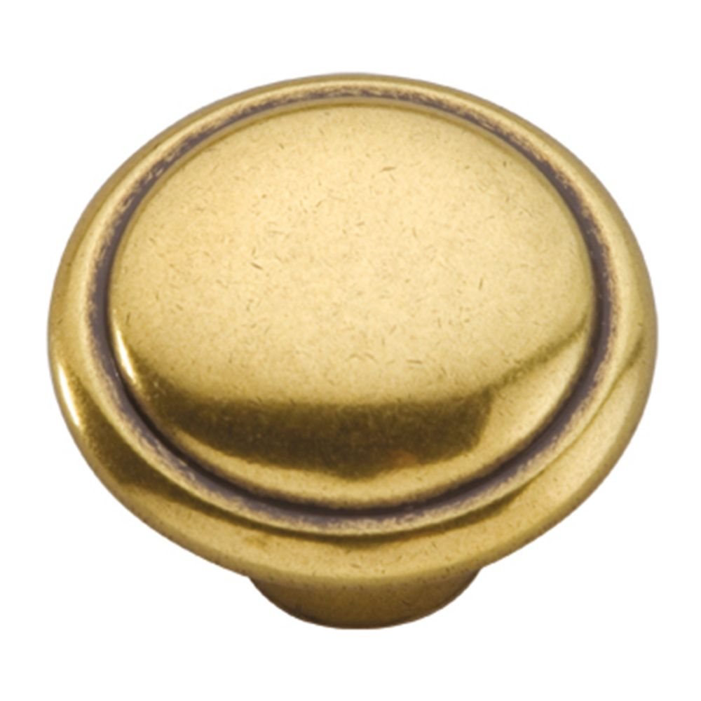 Hickory Hardware P14848-LB Conquest Collection Knob 1-3/8 Inch Diameter Lustre Brass Finish