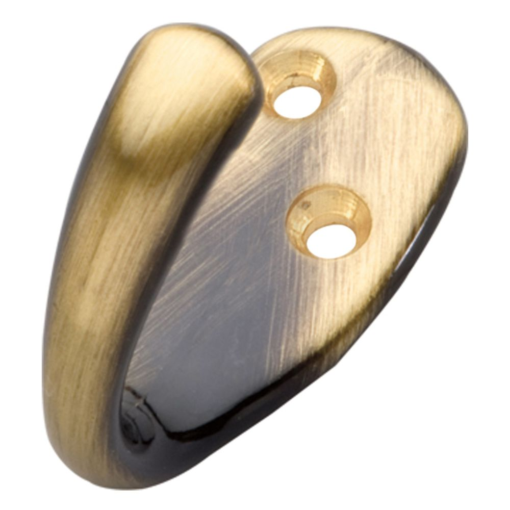 Hickory Hardware P27100-AB Hooks Collection Utility Hook Single 1/2 Inch Center to Center Antique Brass Finish