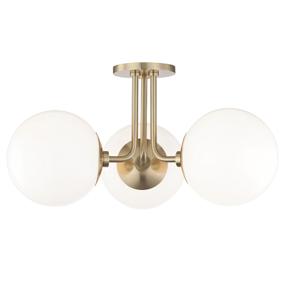 Mitzi by Hudson Valley Lighting H105603-AGB STELLA 3 Light Semi Flush