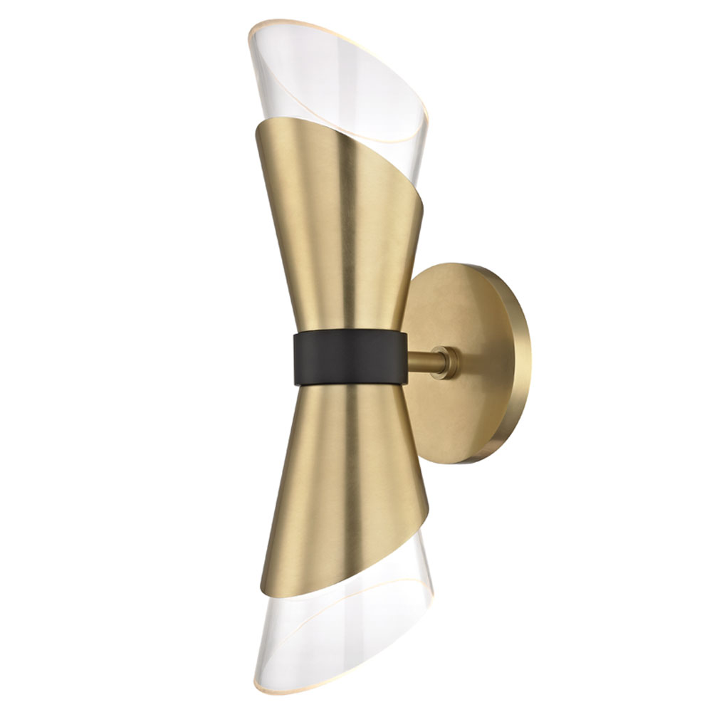 Mitzi by Hudson Valley Lighting H130102-AGB/BK ANGIE 2 Light Wall Sconce