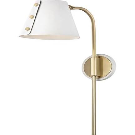 Mitzi by Hudson Valley Lighting HL174201-AGB/WH META 1 Light Wall Sconce With Plug