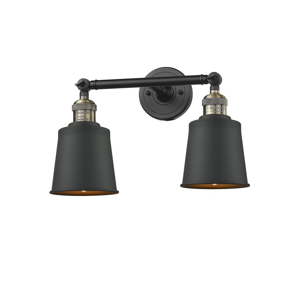 Innovations 208-BAB-M9-LED 2 Light Vintage Dimmable LED Addison 16 inch Bathroom Fixture in Black Antique Brass