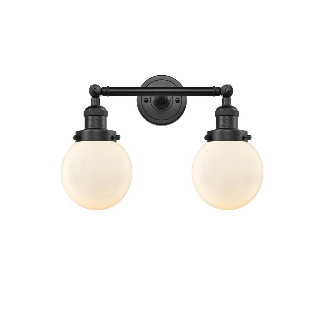 Innovations 208-BK-G201-6 2 Light Beacon 17 inch Bathroom Fixture in Matte Black