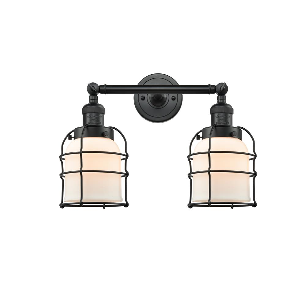 Innovations 208-BK-G51-CE-LED 2 Light Vintage Dimmable LED Small Bell Cage 18 inch Bathroom Fixture