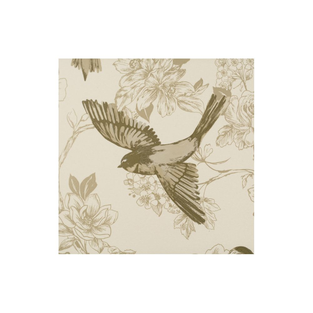 JF Fabrics 1547-33 Wallcovering Floral with Birds Wallpaper