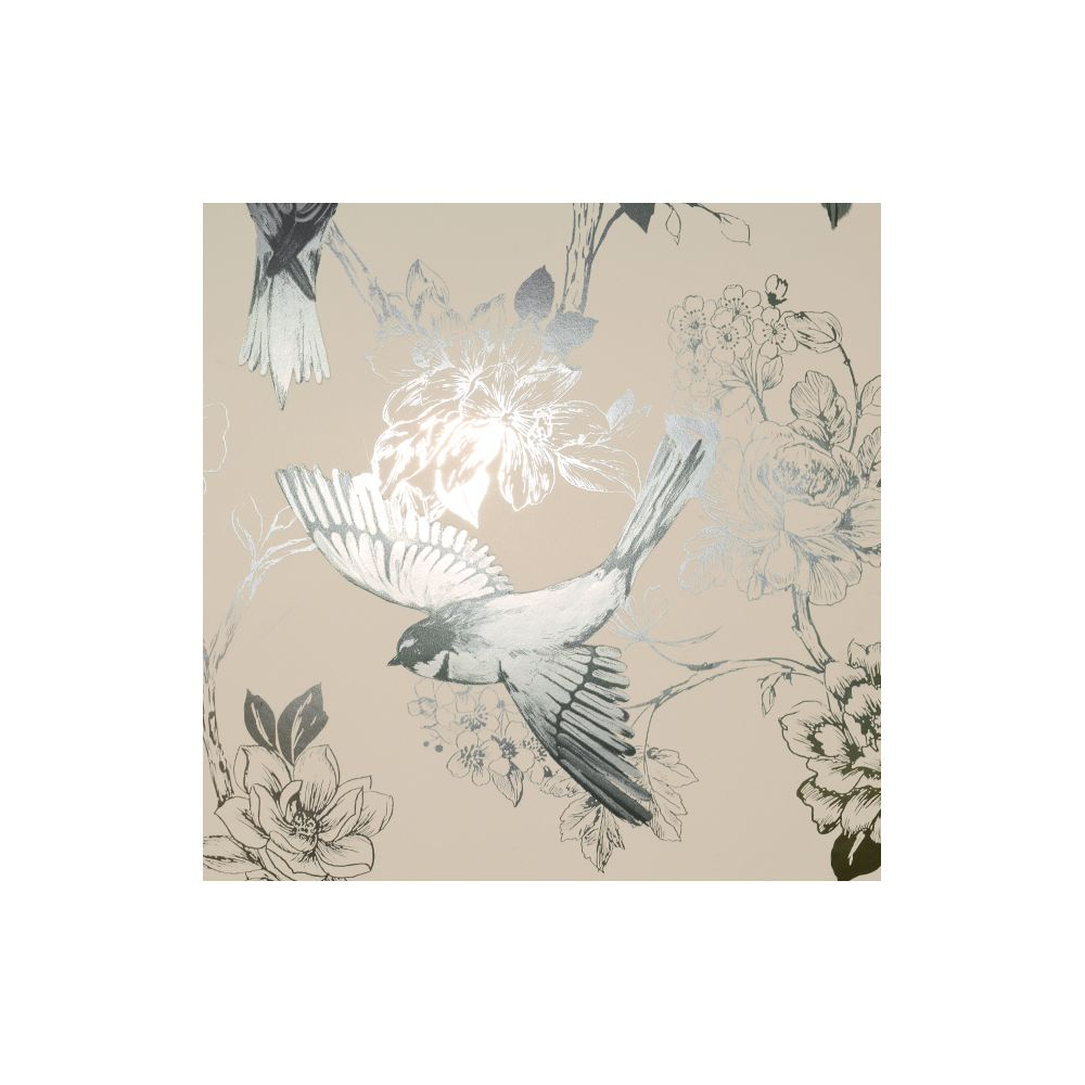JF Fabrics 1548-95 Wallcovering Floral with Birds (Foil) Wallpaper