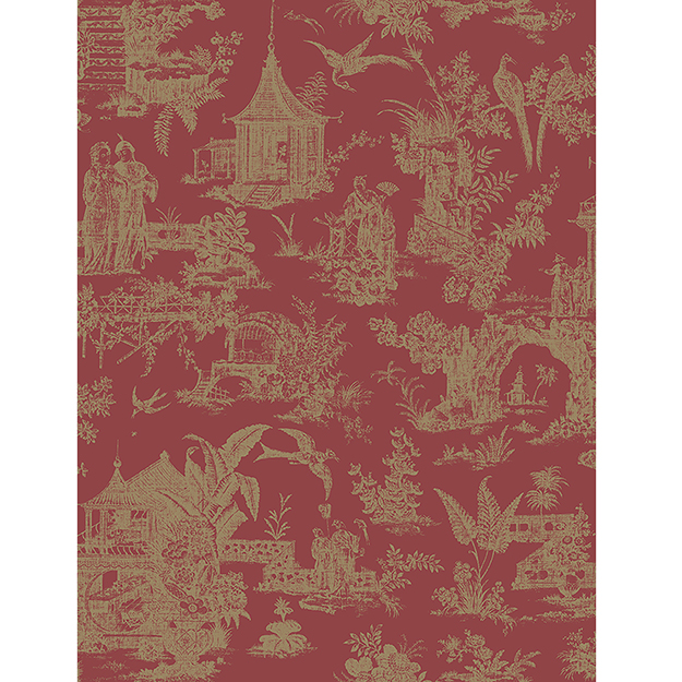JF Fabrics 2195-45 Asian Toile Half Drop Match Wallpaper