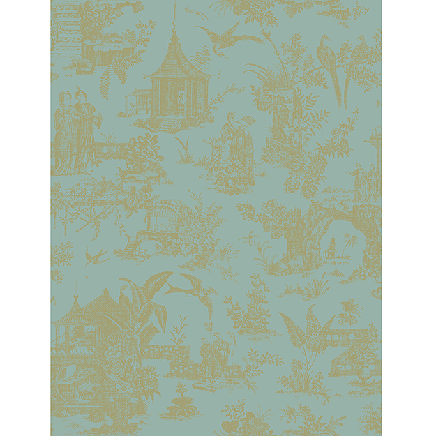 JF Fabrics 2195-63 Asian Toile Half Drop Match Wallpaper