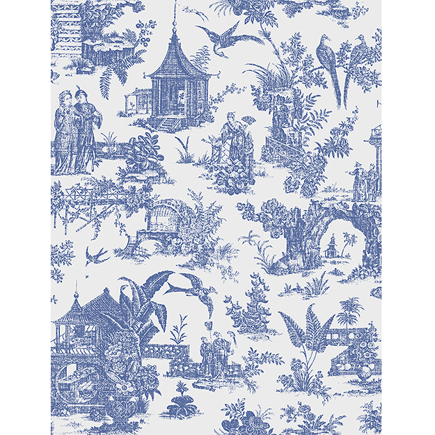 JF Fabrics 2195-68 Asian Toile Half Drop Match Wallpaper