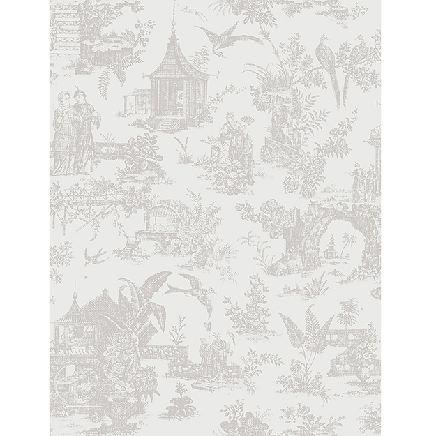 JF Fabrics 2195-94 Asian Toile Half Drop Match Wallpaper