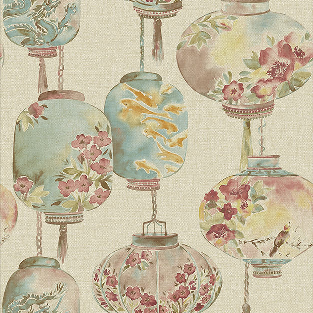 JF Fabrics 2203-62 Lanterns Straight Match Wallpaper
