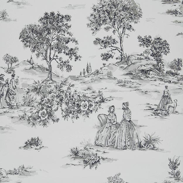JF Fabrics 3053-96 Toile Half Drop Match Wallpaper