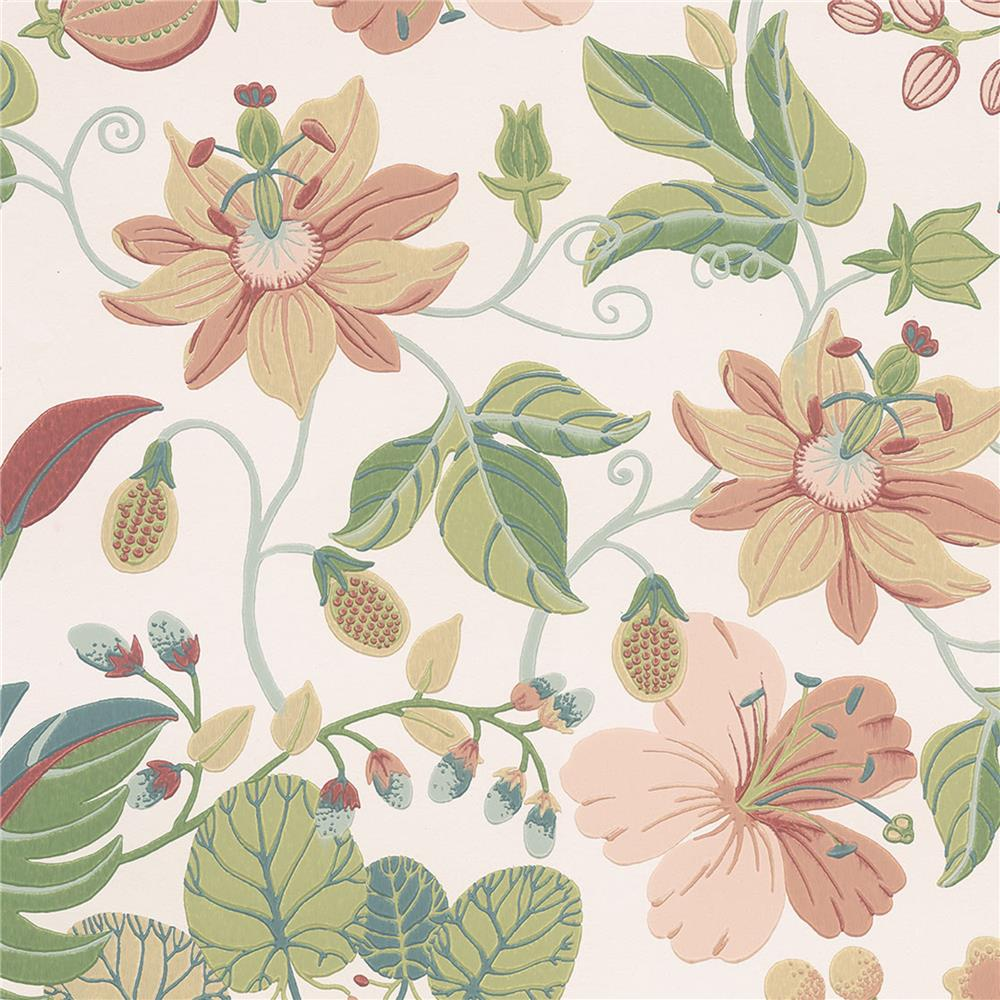 JF Fabrics 52107 40W8811 IN BLOOM Pink; Orange; Rust Wallpaper