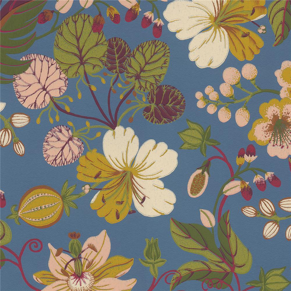 JF Fabrics 52107 65W8811 IN BLOOM Blue Wallpaper