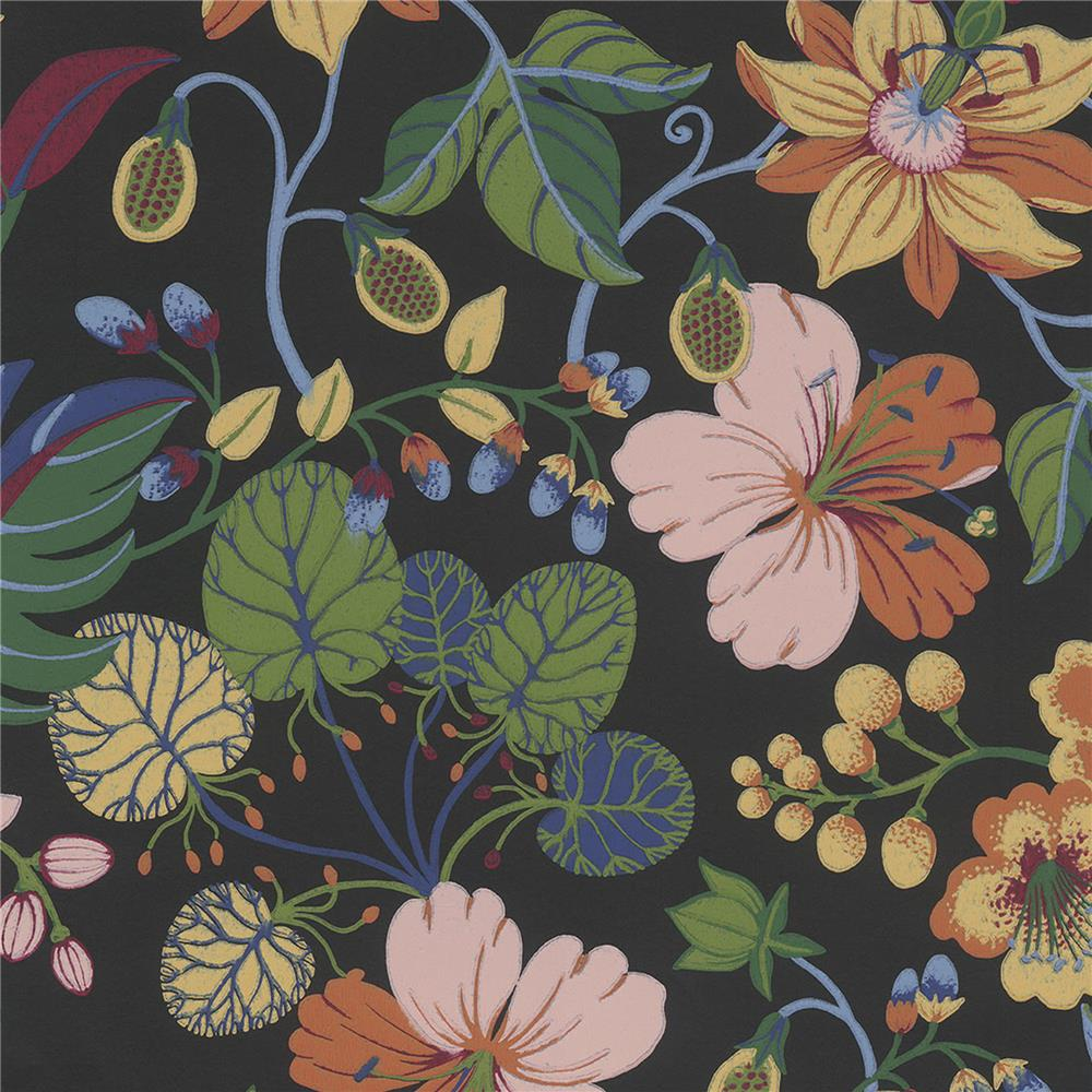 JF Fabrics 52107 69W8811 IN BLOOM Black Wallpaper