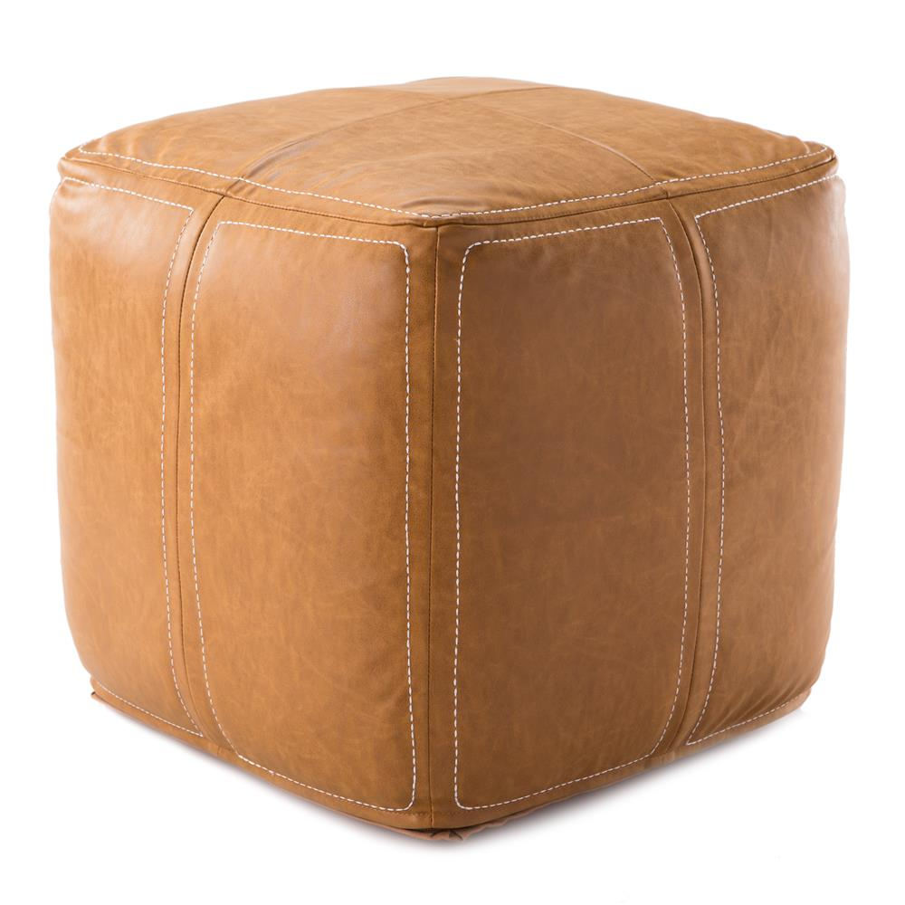 Nikki Chu by Jaipur Living UNK01 Sauve Tan Solid Square Pouf