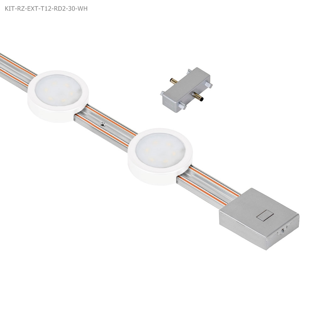 Jesco Lighting KIT-RZ-EXT-T12-RD2-30-WH JESCO RADIANZ 2-LIGHT ROUND LED 12-INCH TRACK LIGHTING EXTENSION KIT IN WHITE
