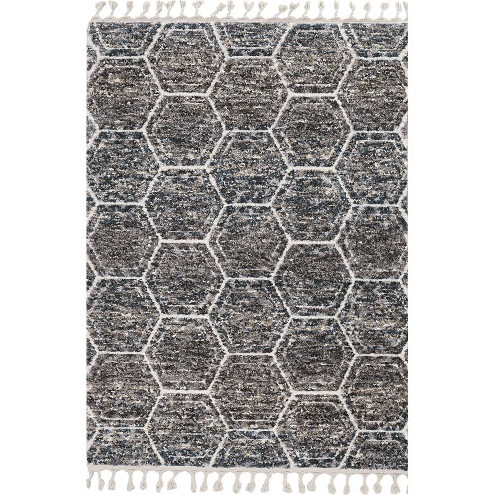 KAS 2303 Bungalow 2 Ft. 2 In. X 7 Ft. 6 In. Runner Rug in Grey/Teal