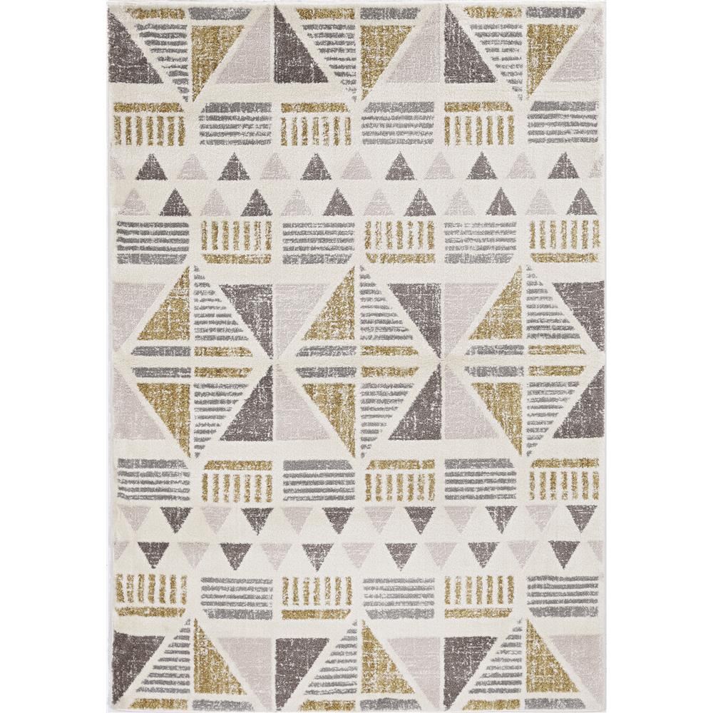 KAS 6551 Elements 2 Ft. 3 In. X 7 Ft. 6 In. Runner Rug in Ivory/Gold