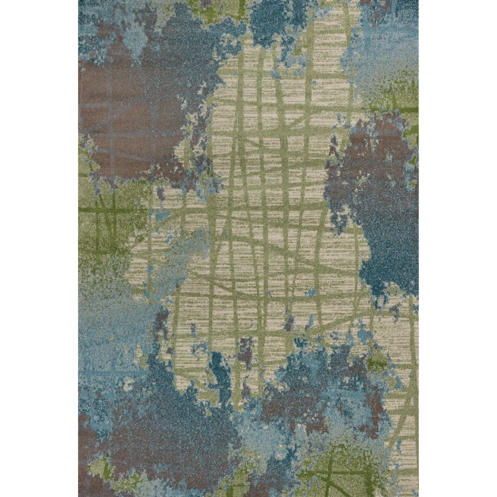 KAS 6207 Illusions 3 Ft. 3 In. X 4 Ft. 11 In. Rectangle Rug in Green/Blue