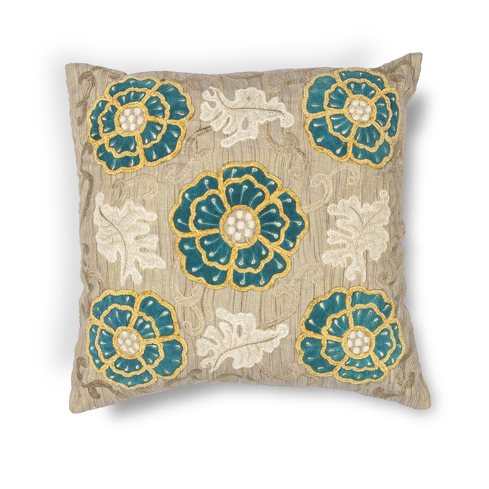"KAS PILL211 18x18"" Pillow in Taupe-teal"