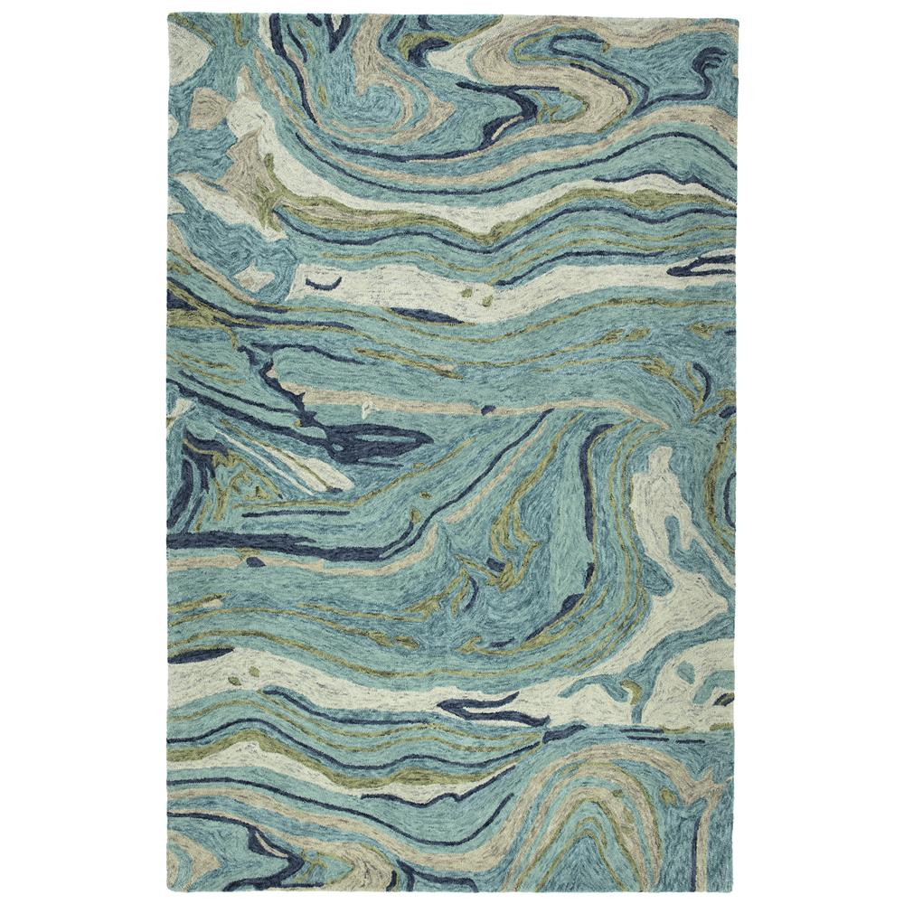 Kaleen Rugs MBL03-91 Marble Collection 2 Ft x 3 Ft Rectangle Rug in Teal