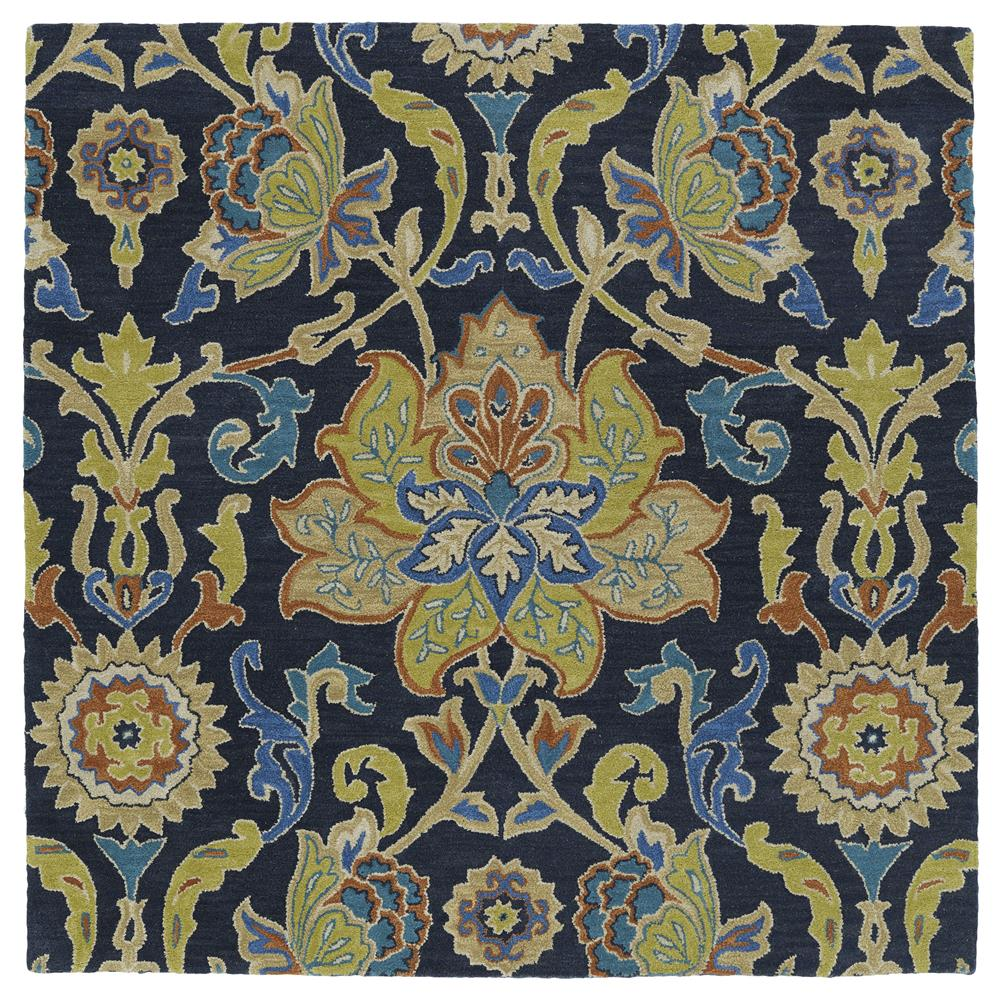 Kaleen Rugs TAJ02-22 Taj 3 Ft. 9 In. Square Rug in Navy