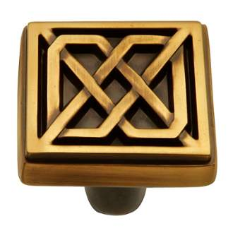 Keeler KB73836-06 Celtic Collection Square Knob 1-1/4 Inch Winchester Brass Finish