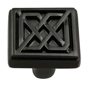 Keeler KB73836-MB Celtic Collection Square Knob 1-1/4 Inch Matte Black Finish